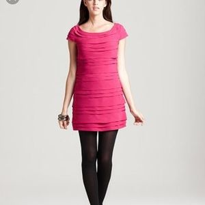 French Connection Tiered Cap Sleeve Dress Pink 2
